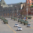 Military equipment after the parade on red square in Moscow — Stock Photo #26998867