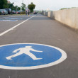 Pedestrian sign on asphalt. Leisure activities — Stock Photo