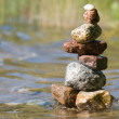 Stack of stones on the beach — Stock Photo