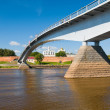 Bridge across the river in city Great Novgorod, Russia — Stock Photo