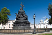Sofia cathedral and monument for Russia millennium in Veliky Nov — Stock Photo