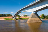 Bridge across the river in city Great Novgorod, Russia — Stock Photo