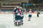 Celebrate after scoring — Foto de Stock