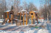 Children's Playground in winter morning — Stock Photo