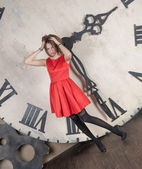 Beautiful girl time and time — Stock Photo