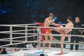 Winner T. Aylyarov (red) and A.Mischenko (blue) — Stock Photo