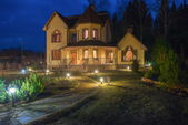 Country house (dacha) in spring night — Stock Photo