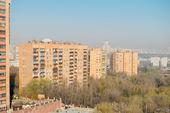 Spring day cityscape high angle. Moscow — Stock Photo