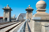 Krasnoluzhsky Railway Bridge, Moscow — Stock Photo