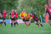 A rugby tackle — Stock Photo