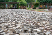 Paving slabs in a mess on the square — Stock Photo