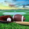 Baseball, bat, and mitt in field at sunset — Stock Photo