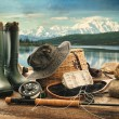 Fly fishing equipment on deck with view of a lake and mountains - Stock Photo