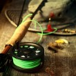 Fly fishing equipment with old hat on bench — 图库照片 #12020738