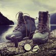 Hiking boots on tree trunk near lake - Foto Stock