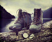 Hiking boots on tree trunk near lake — Stok fotoğraf