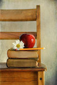 Apple and old books on school chair — Stock Photo