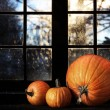 Different sized pumpkins in window - Stock Photo