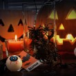 Pumpkins and candles for Halloween - Stock Photo