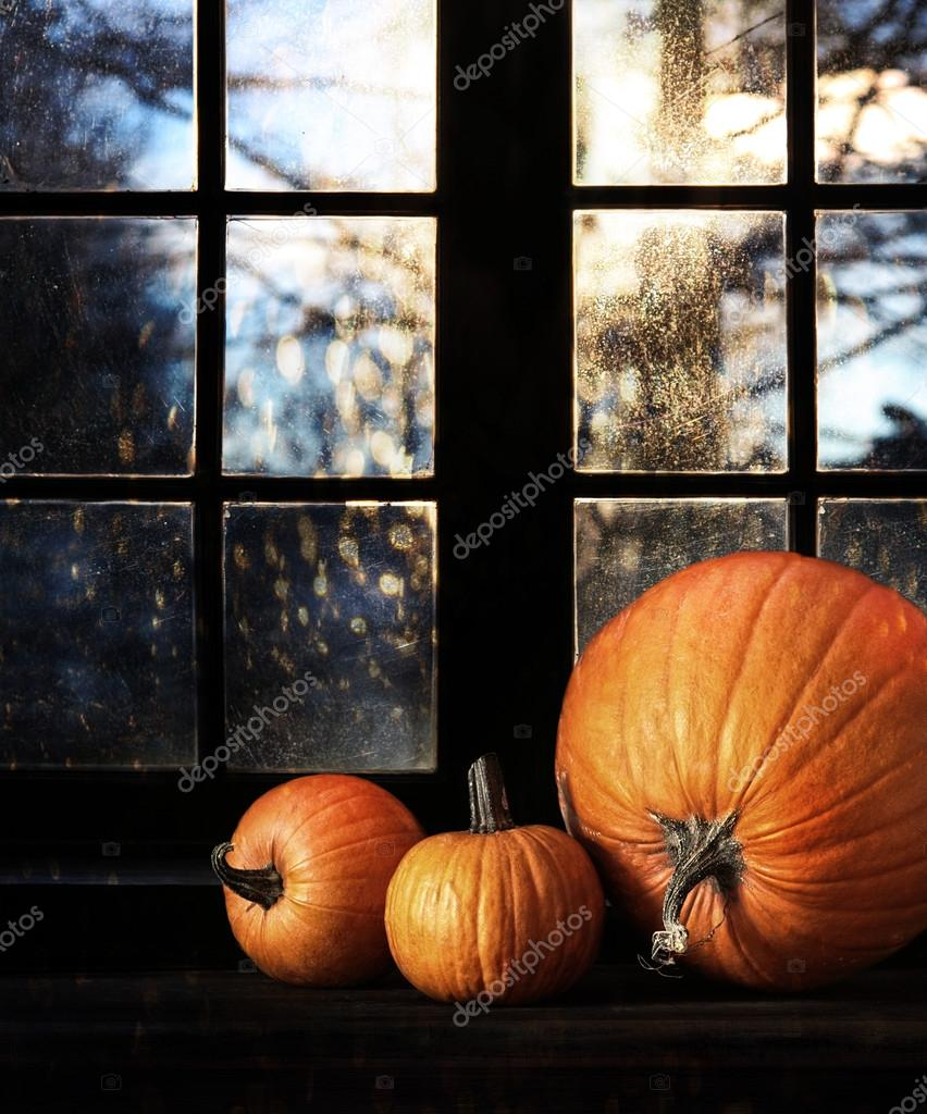 Different sized pumpkins in window for Halloween night  Stock Photo #13168844