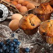 Homemade blueberry muffins - Stock Photo