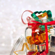 Stock Photo: Colorful cookie cutters on holiday background