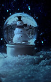 Snow globe in a snowy winter setting — Stock Photo