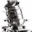 Stack with stainless steel pots and pans on white — Stock Photo #19277341