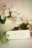 Apple blossoms and gift tag — Stock Photo