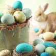 Stock Photo: Speckled eggs with vintage feeling