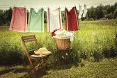 Dzień z pralni na bielizny do prania — Zdjęcie stockowe