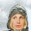 Young woman with snowy background — Foto de Stock   #3450220
