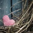 Little heart on Christmas wreath — Stock Photo