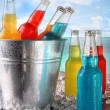 Stock Photo: Cool drinks in ice bucket at the beach