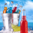 Stock Photo: Summer drinks in ice bucket on the beach