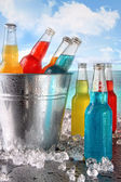 Cool drinks in ice bucket at the beach — Stock Photo
