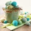 Speckled eggs in bowl for Easter — Stock Photo #40878543