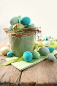 Speckled eggs in bowl for Easter — Stock Photo