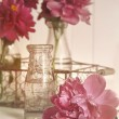 Beautiful peony flowers with bottles on table — Stock Photo