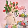 Easter bunny tulips and eggs — Stock Photo