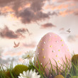Large pink egg with flowers in tall grass — Stock Photo