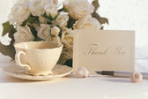 Thank you note with tea cup — Stock Photo
