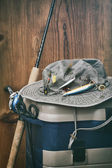 Hat with fishing equipment  — Stock Photo