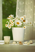 Summer daisies in front of window — Stock Photo