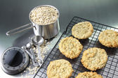 Oatmeal cookies on cooling rack — ストック写真