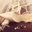 Wedding shoes with veil and rings on velvet chair — Stock Photo #5345595