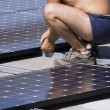 Workers set photovoltaic panels — Stock Photo #42615861