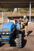 Adam yükleme traktör üzüm hasat — Stok fotoğraf