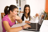 Students and computer — Stock Photo