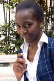 African student with pen — ストック写真